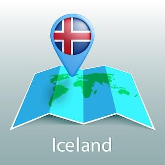 Islandflaggen-weltkarte im stift mit dem namen des landes auf grauem hintergrund