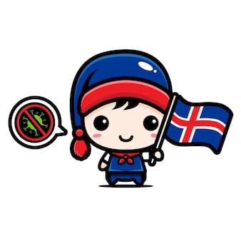 Islandjunge mit flagge gegen virus