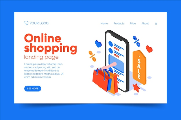 Ismoetric shopping online landing page thema