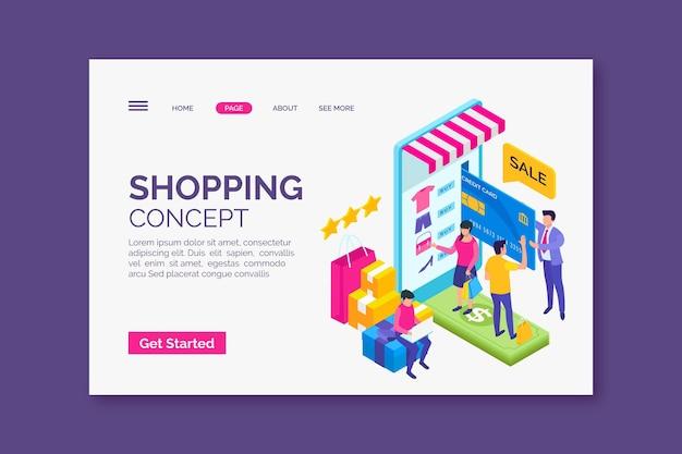 Ismoetrisches einkaufen online-landingpage-design