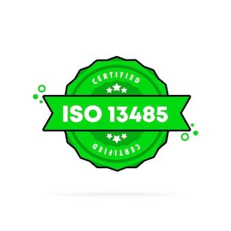 Iso 13485-stempel. vektor. iso 13485-abzeichensymbol. zertifiziertes abzeichenlogo. stempelvorlage. etikett, aufkleber, symbole. vektor-eps 10. getrennt auf weißem hintergrund.