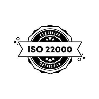 Iso 22000-stempel. vektor. iso 22000-abzeichensymbol. zertifiziertes abzeichenlogo. stempelvorlage. etikett, aufkleber, symbole. vektor-eps 10. getrennt auf weißem hintergrund.