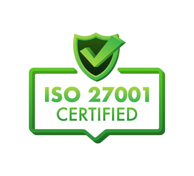 Iso 27001-zertifiziertes abzeichen, symbol. zertifizierungsstempel. flaches design-vektor-illustration.