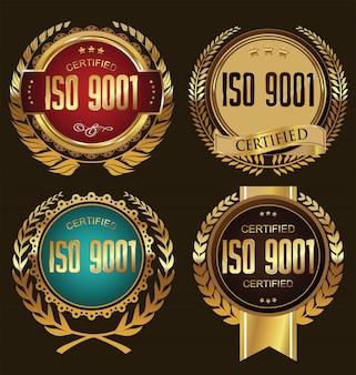 Iso 9001 zertifizierte goldene abzeichen-kollektion