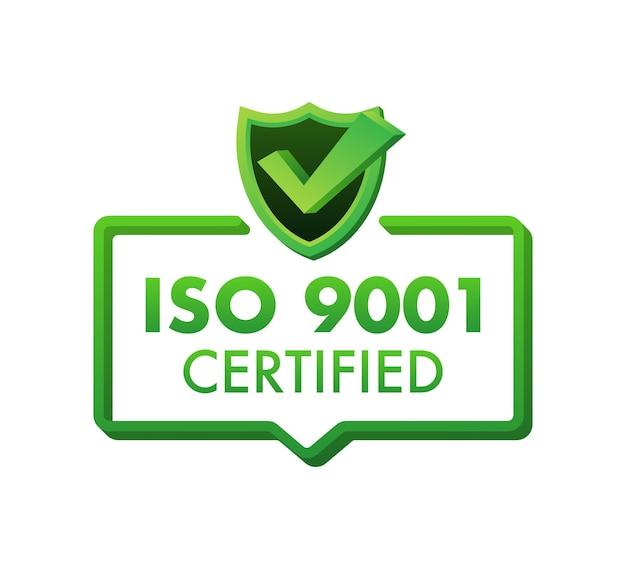 Iso 9001 zertifiziertes abzeichen, symbol. zertifizierungsstempel. flaches design-vektor-illustration.