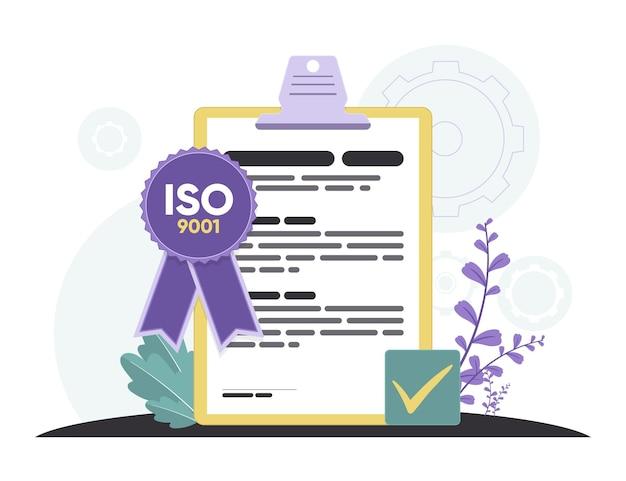 Iso 9001 zertifizierung mit violettem band