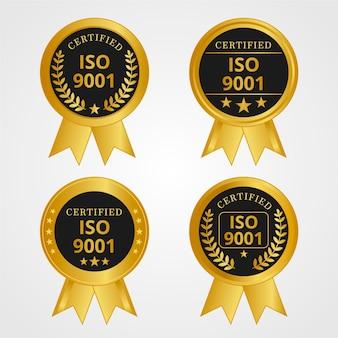 Iso-zertifizierungsstempel golden und schwarz