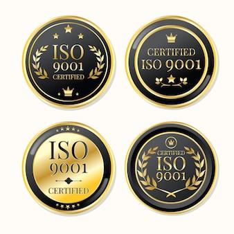 Iso-zertifizierungsstempel luxusgold