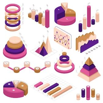 Isografische elemente der infografik. datenstatistik 3d-diagramm infografik-diagramme isoliert satz