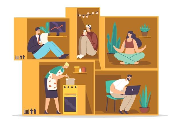 Isolations- oder introversionskonzept. introvertierte männliche weibliche charaktere in einem winzigen beengten raum. menschen in small box geschäftsmann, hausfrau, student und freiberufler. cartoon-menschen-vektor-illustration
