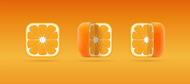 Isolierte 3d-icons von quadratisch geschnittenen orangen-mandarinen für vegetarische öko-naturkost mit zitrussaft