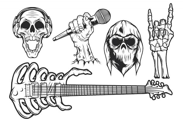 Isolierte abbildungen gesetzt. schädel in kopftuch und hoodie, schädel mit kopfhörern, zombiehand mit mikrofon, skeletthand