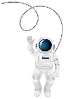 Isolierte astronautenkarikatur auf weißem hintergrund