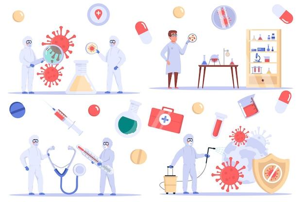 Isolierte coronavirus-elemente setzen ein bündel von wissenschaftlern, die viren im labor untersuchen, entwickeln eine heilung