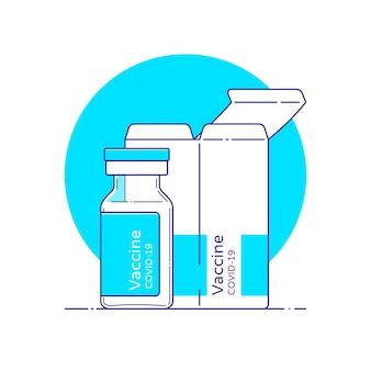 Isolierte darstellung von covid-impfstoff-glasfläschchen mit box im flachen stil mit umriss.