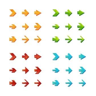 Isolierte dreieckige polygonale pfeile setzen, rückgängig machen und vorherige schaltflächen.