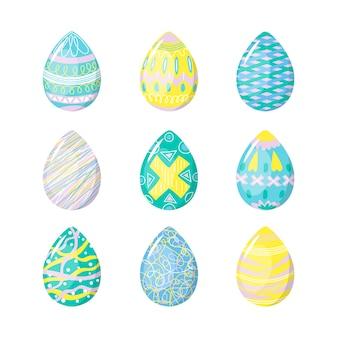 Isolierte eier auf weißer hintergrundhand gezeichnet