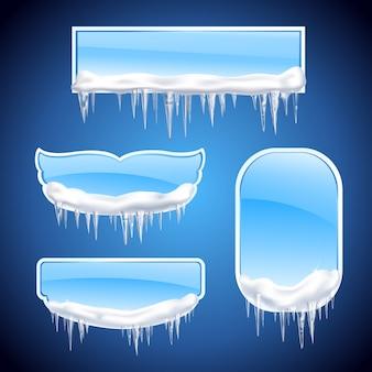 Isolierte eiszapfenrahmen realistischer symbolsatz mit verschiedenen formfenstern oder rahmen auf blauer hintergrundillustration