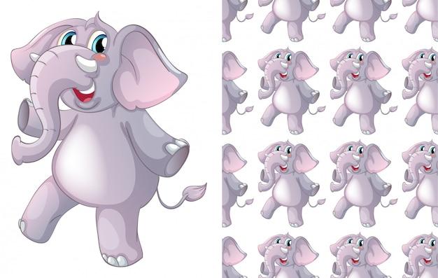 Isolierte elefant tiermuster cartoon