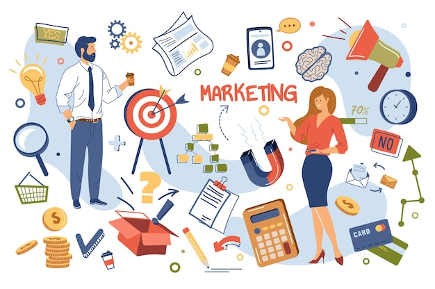 Isolierte elemente des marketingkonzepts gesetzt