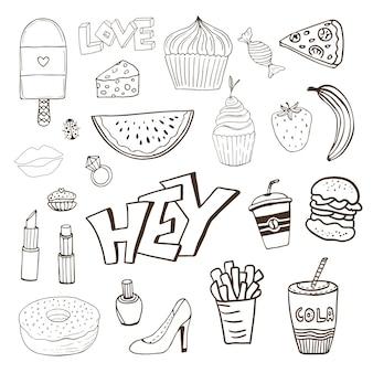 Isolierte elemente mit süßigkeiten essen und mädchenhafte elemente