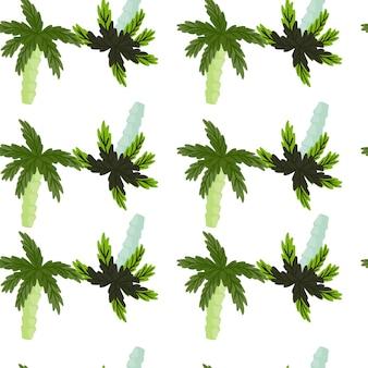 Isolierte exotische nahtlose muster mit abstrakten blauen und grünen kokospalmenformen. weißer hintergrund. entworfen für stoffdesign, textildruck, verpackung, abdeckung. vektor-illustration.