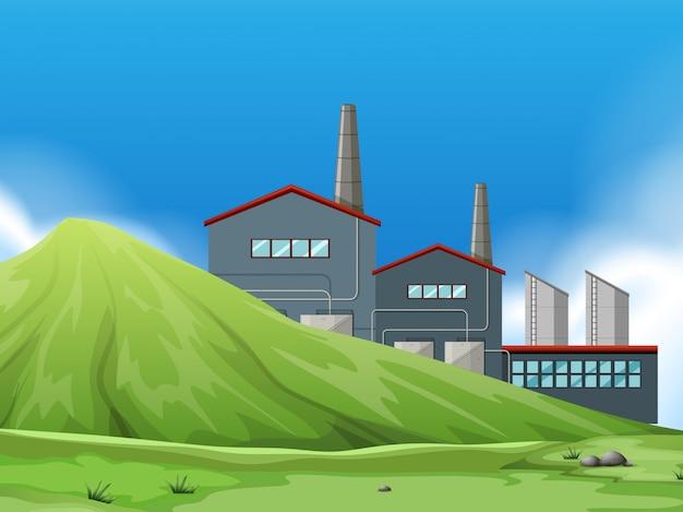 Isolierte fabrik in der natur