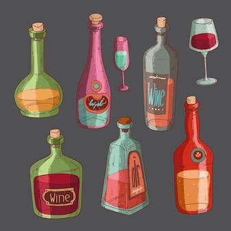 Isolierte flaschen und gläser gefüllt mit alkohol