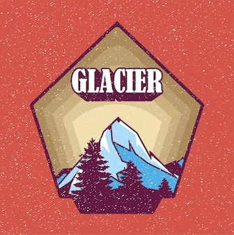 Isolierte gletscher-abzeichen-vektor-illustration