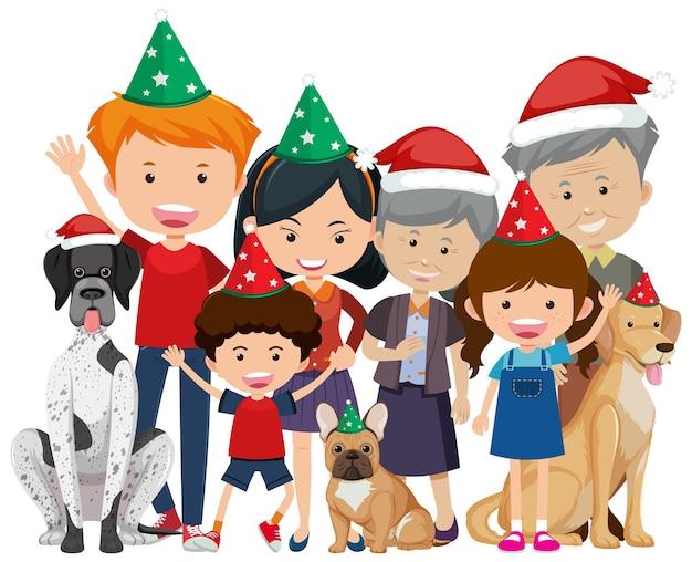 Isolierte glückliche familie, die weihnachten feiert