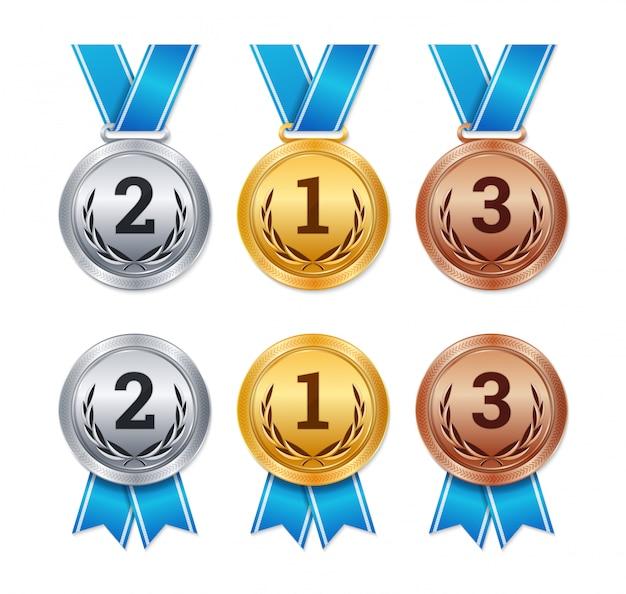 Isolierte gold-, silber- und bronzemedaillen, championpreise,