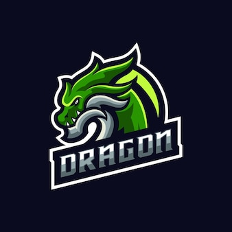 Isolierte green dragon sport maskottchen logo vorlage logo