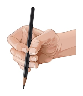 Isolierte hand, die eine bleistiftillustration hält