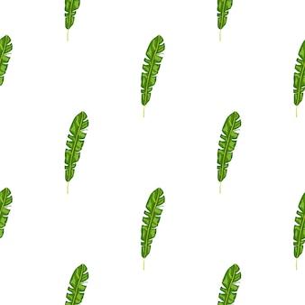 Isolierte handgezeichnete nahtlose muster mit grünen tropischen blattsilhouetten. weißer hintergrund. doodle-druck. flacher vektordruck für textilien, stoffe, geschenkpapier, tapeten. endlose abbildung.