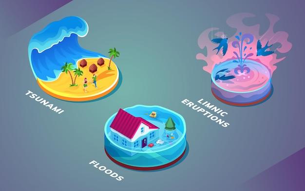 Isolierte hydrologische katastrophe oder wassernaturkatastrophen naturkatastrophe oder unfallproblem