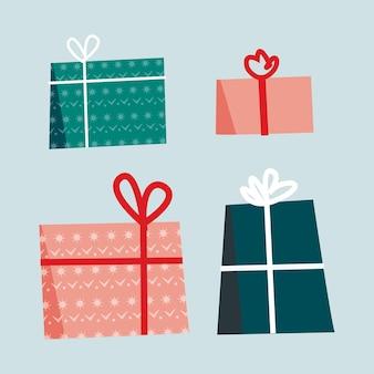 Isolierte ikone des weihnachtsgeschenks, geschenkpaketvektorillustration, einfaches kastenset des neuen jahres