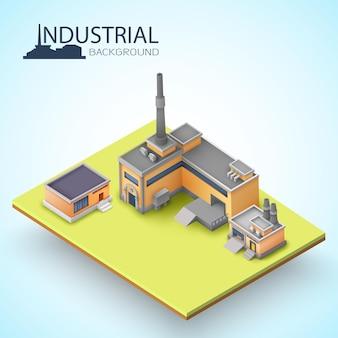Isolierte isometrische 3d-gebäude- und fabrikzusammensetzung, die mit stück erde geschnitten wird