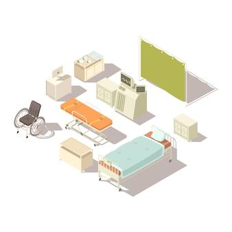 Isolierte isometrische elemente des krankenhausinnenraums