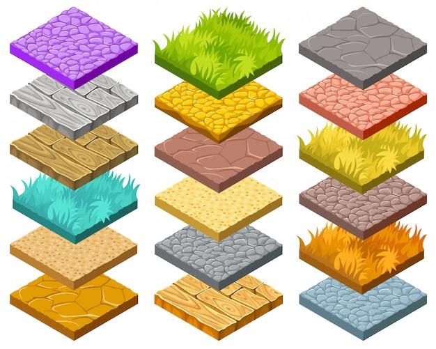 Isolierte isometrische kacheln für computerspiele.