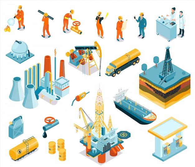 Isolierte isometrische ölindustrie-arbeitersymbol gesetzt mit arbeitgebern, die an der fabrik arbeiten