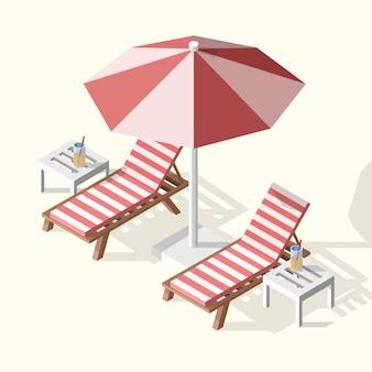 Isolierte isometrische sommerillustration von zwei sonnenliegen mit regenschirm, tabellen und cocktails.