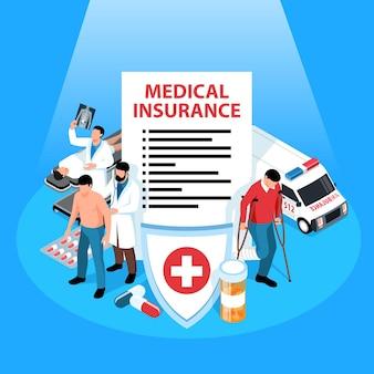 Isolierte isometrische versicherungszusammensetzung mit s vereinbarung schild medizinpillen krankenwagen und charaktere von ärzten