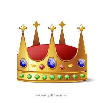 Isolierte krone mit blauen und grünen juwelen