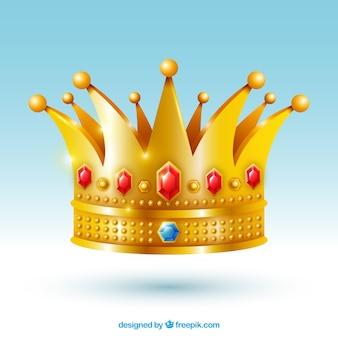 Isolierte krone mit roten juwelen