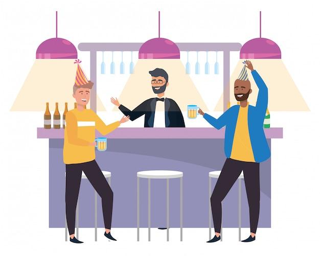 Isolierte männer in einer bar