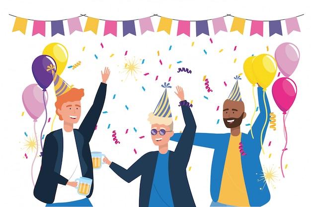 Isolierte männer zum feiern