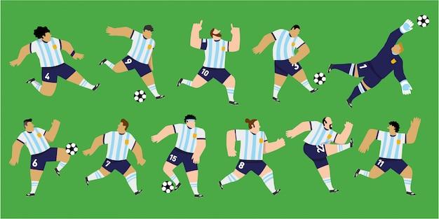 Isolierte männliche fußballspieler, die die farben der argentinischen nationalmannschaft tragen. 11 verschiedene einzigartige positionen. bearbeitbare illustration.