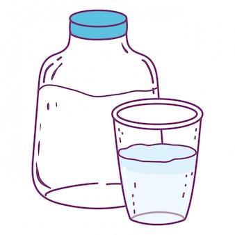 Isolierte milchflasche und glas