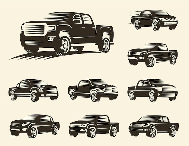Isolierte monochrome pickup-lkw-logo-set, sammlung von auto-logos, schwarze farbabbildung.