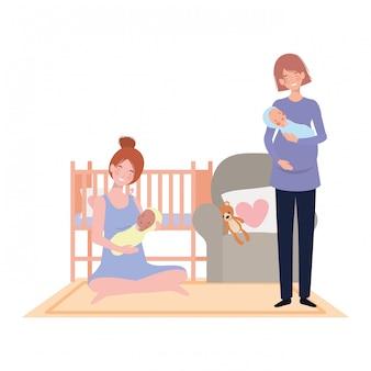 Isolierte mütter mit babys